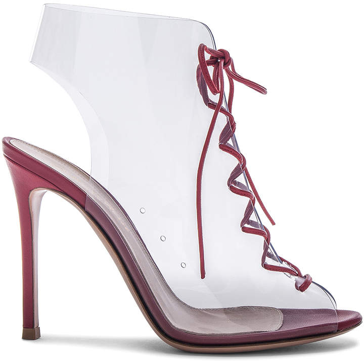 Gianvito Rossi Leather & Plexi Helmut Lace Up Booties