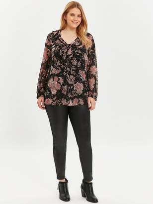 Evans Frill Neck Lace Up Front Paisley Top - Black