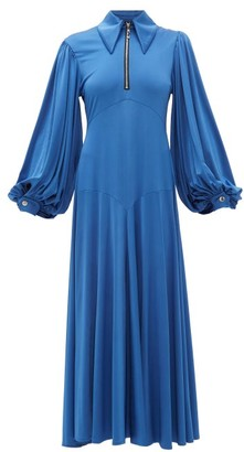 Ellery Palo Alto Balloon-sleeve Satin-jersey Dress - Womens - Blue