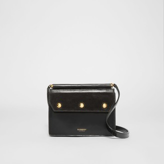 Burberry Mini Suede and Leather Title Bag with Pocket Detail