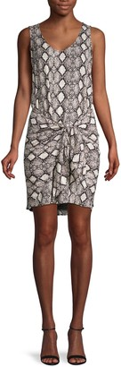 Supply & Demand Snakeskin-Print Twist-Front Dress