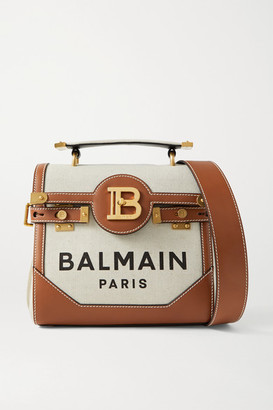 Balmain B-buzz 23 Leather-trimmed Printed Canvas Shoulder Bag - Beige
