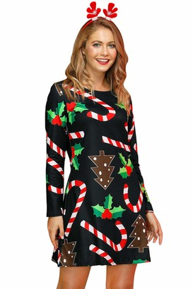 For G And Pl Christmas Women Printed Gift Swing Party Long Sleeve Tunic Mini Dress Pattern 2XL