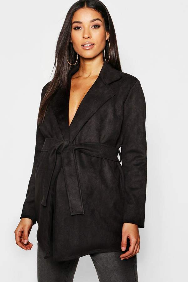 Maternity Suedette Double Breasted Belted Jacket