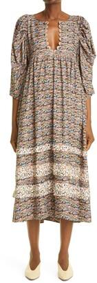 Kika Vargas Sophia Print Midi Dress