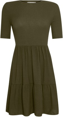 Miss Selfridge Khaki Short Sleeve Ribbed Smock Dress