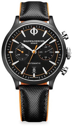 Baume & Mercier Capeland Stainless Steel With ADLC & Leather Strap Chronograph Watch