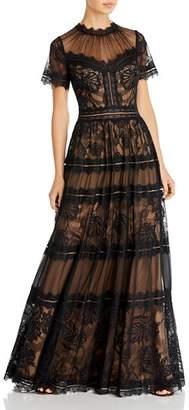 Tadashi Shoji Illusion Neck Lace Panel Gown