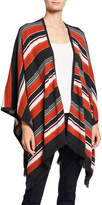 Neiman Marcus Cashmere Striped Open Shawl