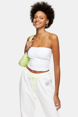 Topshop Womens White Ruched Bandeau - White