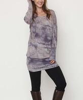Egs By Eloges egs by eloges Women's Tunics PURPLE - Purple Watercolor Blouson Tunic - Women & Plus