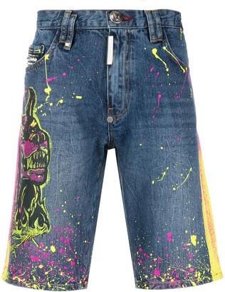 Philipp Plein Paint Splatter Denim Shorts