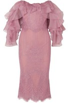Marchesa Off-the-shoulder Ruffled Corded Lace And Organza Dress