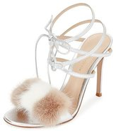 Gianvito Rossi Mink-Fur Crisscross Sandal, Silver/Praline