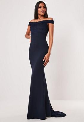 Missguided Navy Bardot Lace Insert Fishtail Maxi Dress