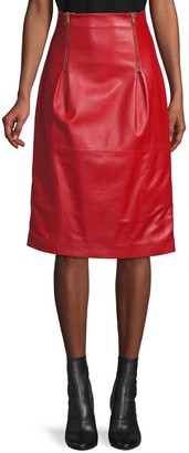 Versace Double Zip Leather Skirt