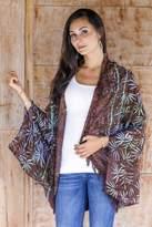 Brown Rayon Batik Open Front Jacket Handmade in Bali, 'Denpasar Lady in Brown'