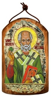 G Debrekht G.DeBrekht Saint Patrick Wooden Greek Christian Orthodox Icon Ornament