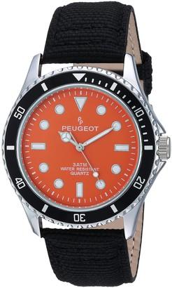 Peugeot Men's Sport Bezel Watch with Black Canvas Wrist Band
