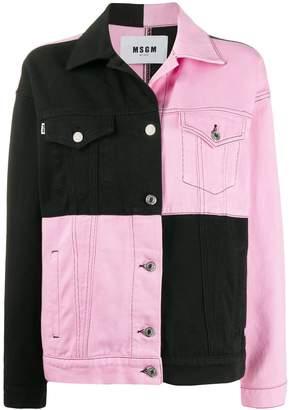MSGM two-tone checkered denim jacket