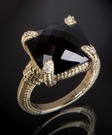 diamond and black onyx square stone ring