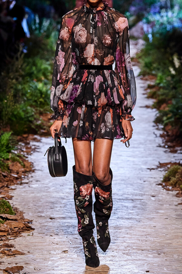 Thumbnail for your product : RALPH & RUSSO Velvet-trimmed Tiered Floral-print Silk-chiffon Mini Dress - Black