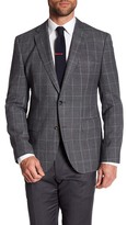 HUGO BOSS Jeen Two Button Notch Lapel Trim Fit Check Wool Sport Coat
