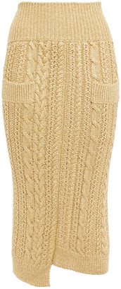 Victoria Beckham Asymmetric Metallic Cable-knit Midi Skirt