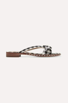 Sam Edelman Delancy Studded Gingham Canvas Sandals - Black