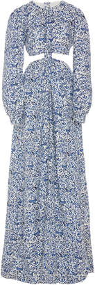 Agua Bendita Agua By Parana Knotted Floral-Print Linen Maxi Dress