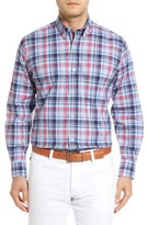 Tailorbyrd Men's Apricot Regular Fit Plaid Sport Shirt