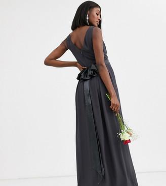 TFNC Maternity Bridesmaid maxi dress with satin bow back in grey