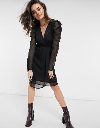 Vila ruched sleeve mini dress in black