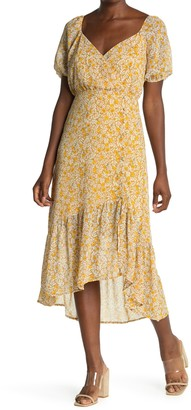 ALL IN FAVOR Floral Short Sleeve High/Low Midi Dress