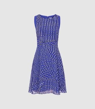 Reiss Nelly - Spot Printed Mini Dress in Blue
