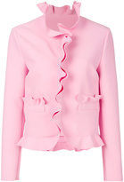MSGM ruffled cropped jacket - women - Polyester/Spandex/Elastane/Viscose - 42