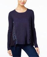 INC International Concepts Mixed-Media Lace-Up Sweater, Only at Macy's