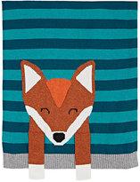The Bonnie Mob Intarsia-Knit Fox Cotton-Cashmere Blanket-GREEN