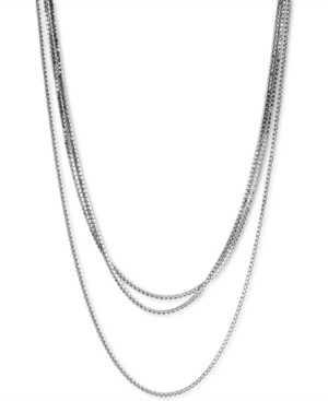 "Lucky Brand Silver-Tone Crystal Long Wrap Strand Necklace, 72"" + 2"" extender"