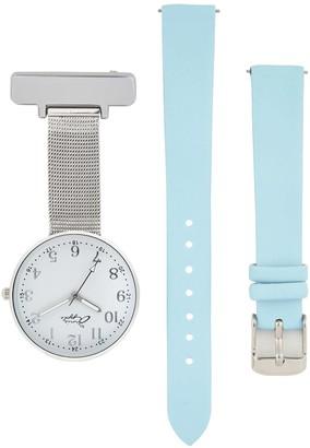 Bermuda Watch Company Annie Apple Empress Interchangeable Blue Leather, Silver Mesh Wrist To Nurse Watch Ladies Regular Price