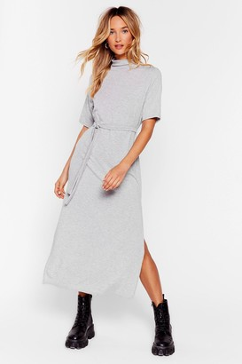 Nasty Gal Womens Tee BT Belted Midi Dress - Grey - 4, Grey
