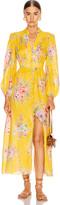 Zimmermann Zinnia Button Front Long Dress in Golden Floral | FWRD