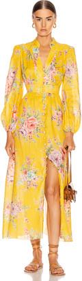 Zimmermann Zinnia Button Front Long Dress in Golden Floral   FWRD