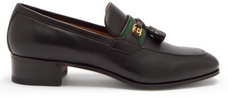 Gucci GG And Web Stripe Tasselled Leather Loafers - Black