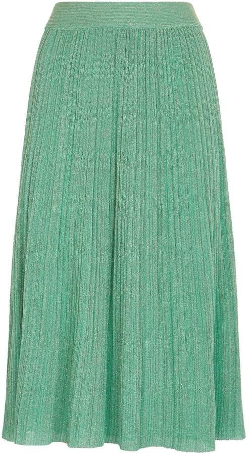 M Missoni Metallic Plisse Knit Midi Skirt