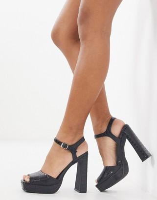 Schuh Sally platform heeled sandal in black