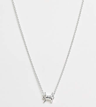 Asos Design DESIGN sterling silver necklace with barbed wire pendant
