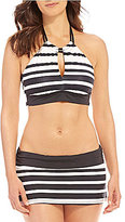 Gibson & Latimer Striped Keyhole High Neck Top & Skirt Set