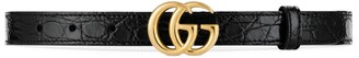 Gucci GG Marmont thin caimn belt with shiny buckle