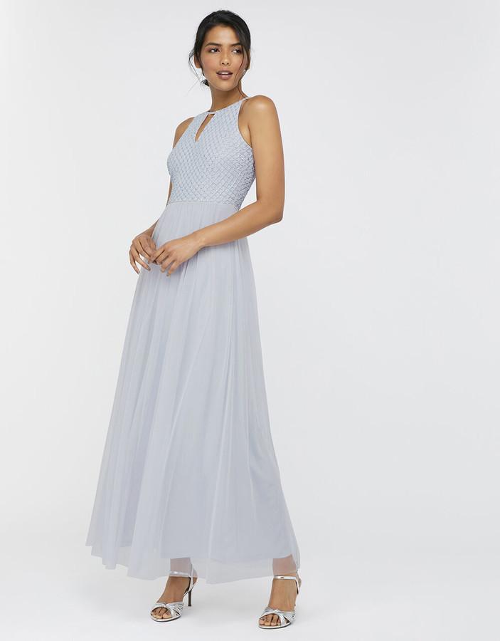 Under Armour Sophie Embellished Tulle Maxi Dress Blue